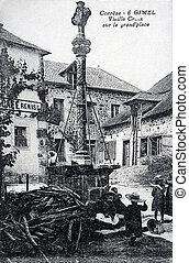 old postcard of Gimel, old cross on the square...