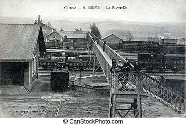 old postcard of Brive, gateway...