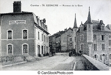 old postcard of Uzerche, Avenue Station...