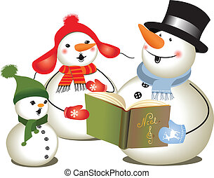 Christmas carols/ Christmas concert - Family of tree snowmen...