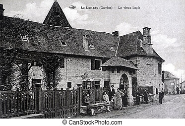 old postcard of Lonzac, old house...