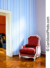 Red armchair interior