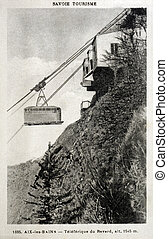 old postcard of Aix-les-Bains, cable car of Revard...