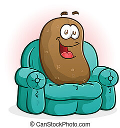 Couch Potato Cartoon Character - A smiling happy couch...