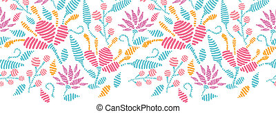 Vector embroidered garden horizontal seamless pattern background ornament with ornamental flowers on purple background