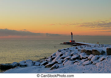 Morning at Oakville Harbour - Winter morning looking out at...