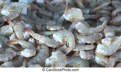 Fresh Shrimp Seafood Dolly - Close up, dolly shot of a fresh...