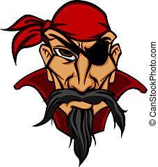 Danger pirate in bandana - Head of danger buccaneer in...