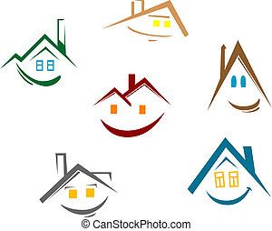 House symbols - Set of house symbols for real estate design...
