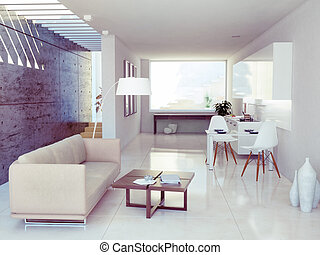 modern interior design apartment 3d rendering