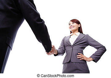 Business woman and man handshake - Business woman and man...