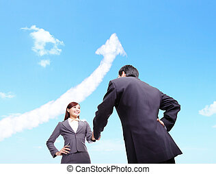 Success Business concept - woman and man handshake - Success...