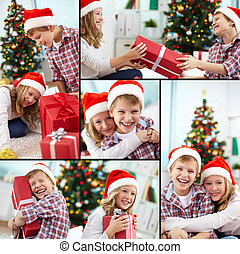 Christmas siblings - Collage of happy siblings in Santa caps...
