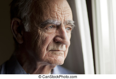 Portrait of Sad Elderly man - Portrait of Elderly man lost...