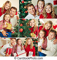 Christmas eve - Collage of happy family looking at camera on...