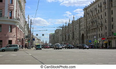 Ordinary day in moscow, russia - Everyday scene with urban...