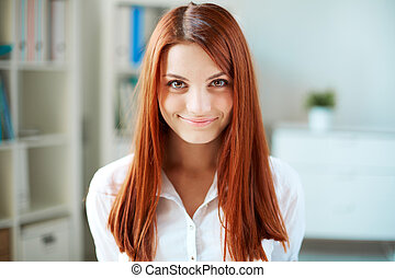 Ginger-haired girl - Happy girl with long ginger hair...