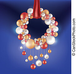 Christmas background with hanging ball - Christmas design...