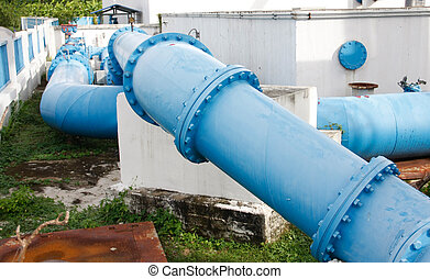 pipes of an irrigation water - flanges, couplings, valves...