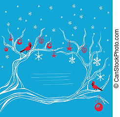Christmas cardinal bird brunch decoration - Background with...