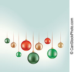 set of hanging ball decoration isolated on white