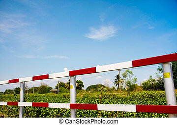 traffic fence - dangerous traffic fence beside street and...