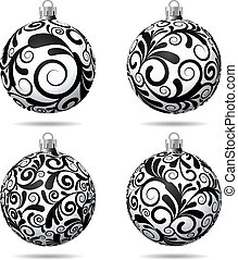 Set of Black and white Christmas balls on white background...