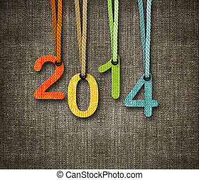 Happy New year 2014, numbers hunging by rope as puppeteer on...
