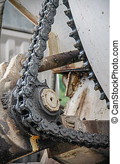old chain with propel roller - old chain with grease on...