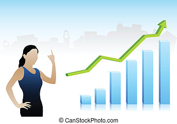 Vector Business Lady showing Profit