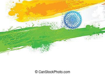 Grungy Indian Wallpaper with flag - easy to edit vector...