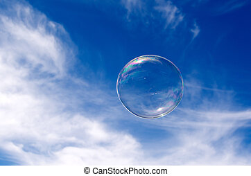 House bubble - Soap bubble fly in mid-air in sunny day...