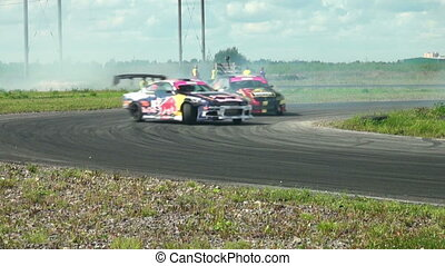 Auto racing The smoke from under the tires