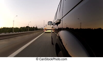 Overtaking trailer on the highway