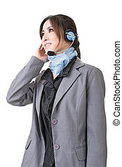 business woman with a headphone - Friendly business woman...