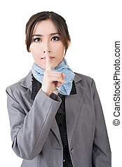 silent gesture - Asian business woman give you a silent...