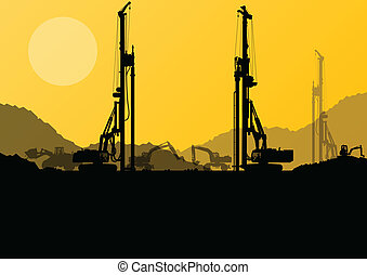 Excavator loaders, hydraulic pile drilling machines,...