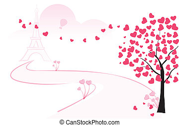 Love Tree - easy to edit vector illustration of love tree...