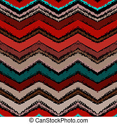 Hand drawn zigzag pattern in dark colors. Vector seamless...
