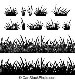 Grass silhouette, seamless - Line seamless and set of grass,...