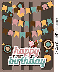 Happy birthday card, vintage retro, vector