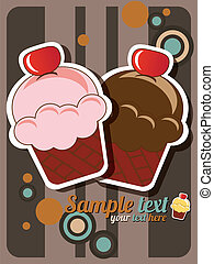 Cup cake card - Cup cake invitation background with place...