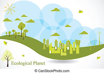 Eco Planet - easy to edit vector illustration of ecofriendly...