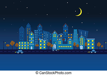 Paper City in Night view - easy to edit vector illustration...
