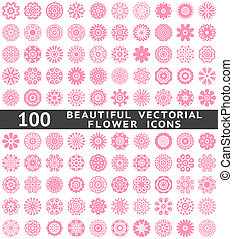 Beautiful abstract flower icons. Vector illustration - 100...
