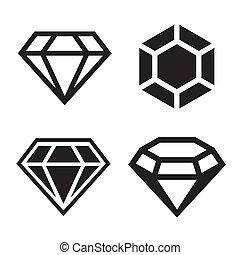 Diamond vector icons set. Easy clear shape. Vector.