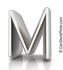 """3D metall letter """"M"""" isolated on white"""