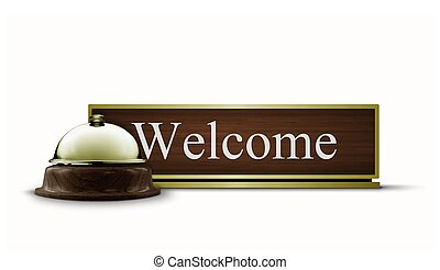 Welcome Desktop Sign and Call Bell - Welcome Desktop Sign...