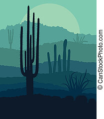 Desert cactus plants wild nature landscape illustration...