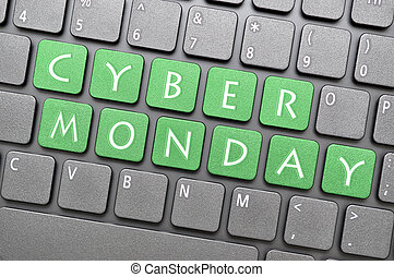 Cyber Monday on keyboard - Green cyber Monday on keyboard